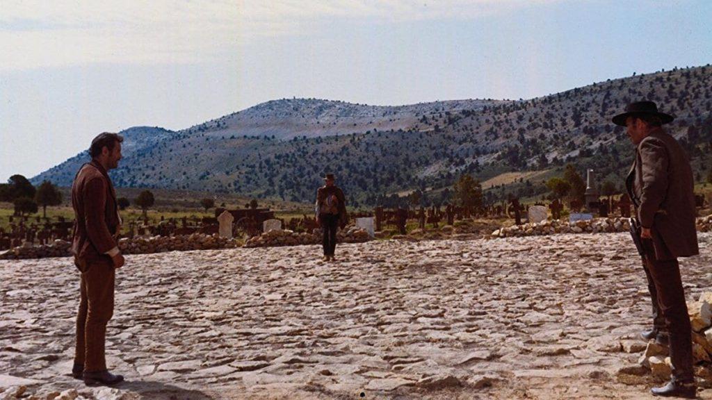 لی ون کلیف(راست)، کلینت ایستوود(وسط)، الی والاک(چپ) در فیلم خوب، بد و زشت