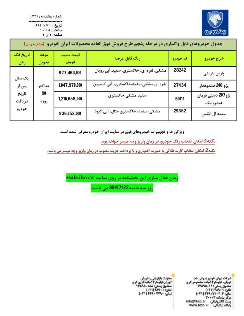 قرعه کشی ایران خودرو 25 مهر
